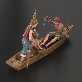 Figurines for Moranduzzo nativities, boat with 3 men 10cm s2