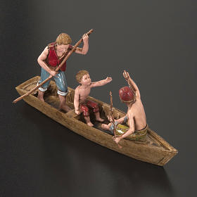 Figurines for Moranduzzo nativities, boat with 3 men 10cm s3