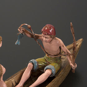 Figurines for Moranduzzo nativities, boat with 3 men 10cm s4