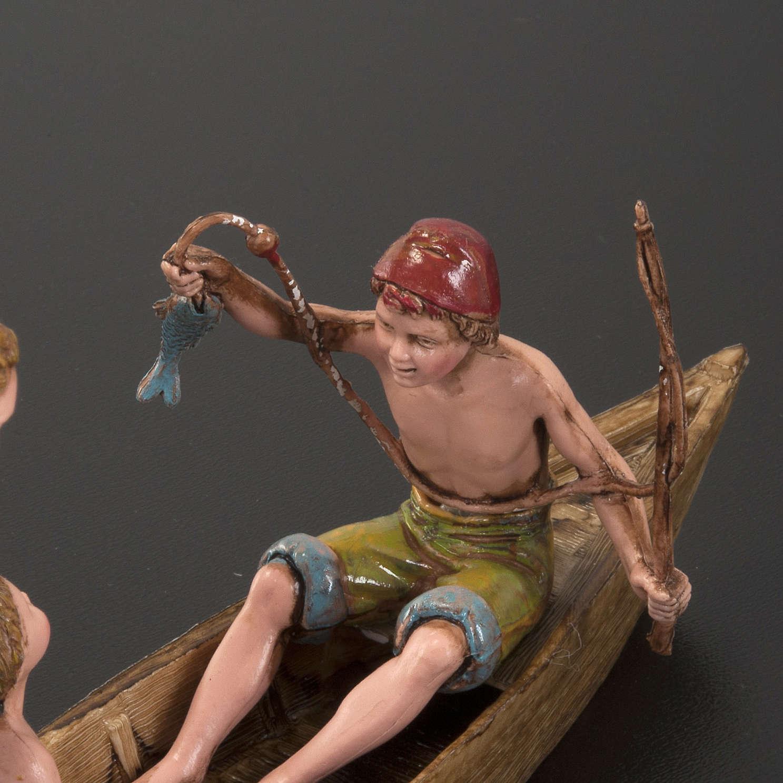 Statue presepe Moranduzzo barca con 3 uomini 10 cm 3