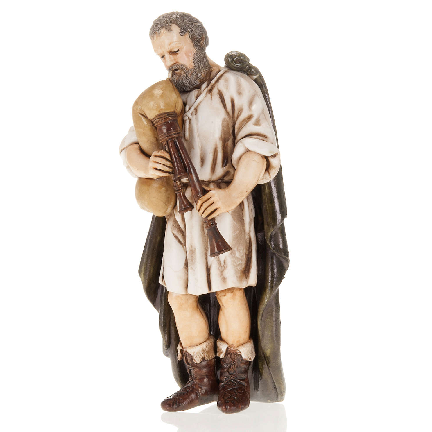Figurines for Moranduzzo nativities, backpiper with cloak 13cm 3