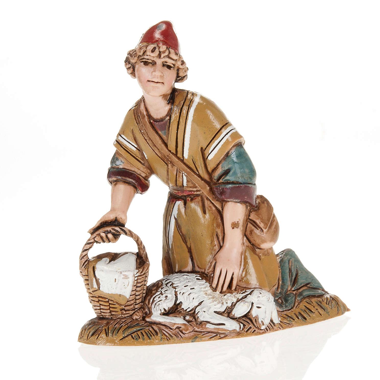 Pastore con agnello e cesto 10 cm Moranduzzo 4
