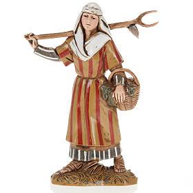 Moranduzzo Nativity Scene woman holding pitchfork figurine 10cm s1