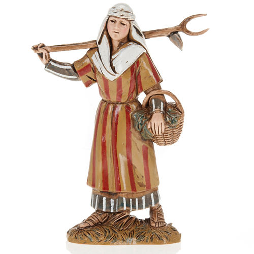 Moranduzzo Nativity Scene woman holding pitchfork figurine 10cm 1