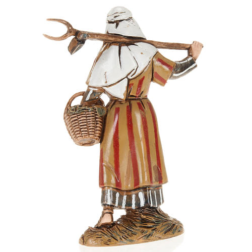 Moranduzzo Nativity Scene woman holding pitchfork figurine 10cm 2