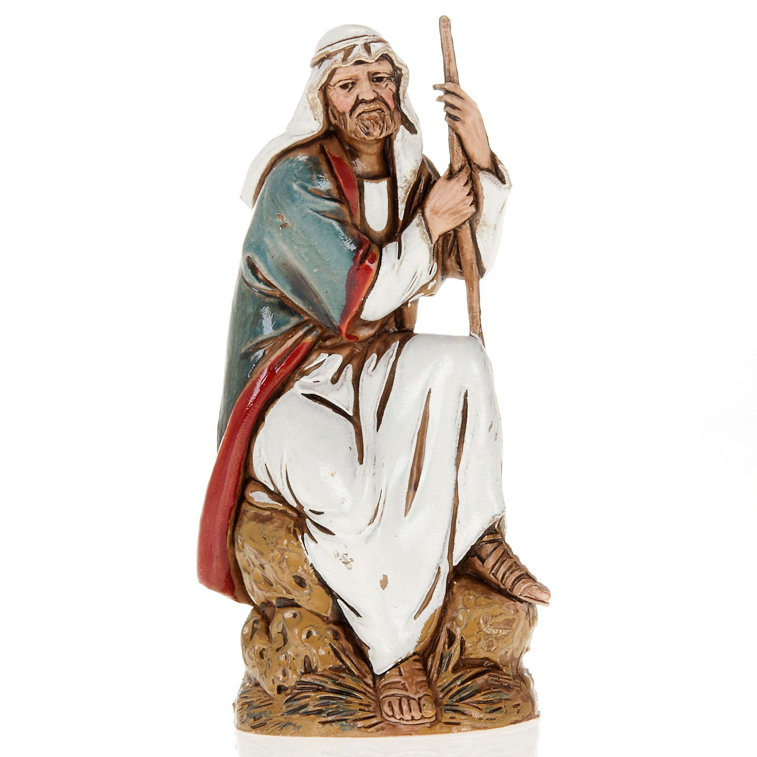 Old shepherd with walking stick, nativity figurine, 10cm Moranduzzo 3