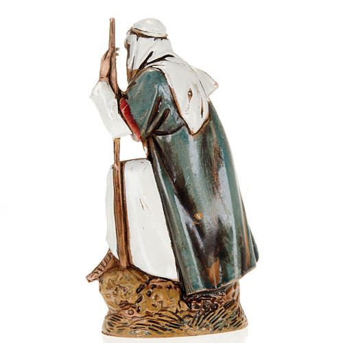 Old shepherd with walking stick, nativity figurine, 10cm Moranduzzo 2