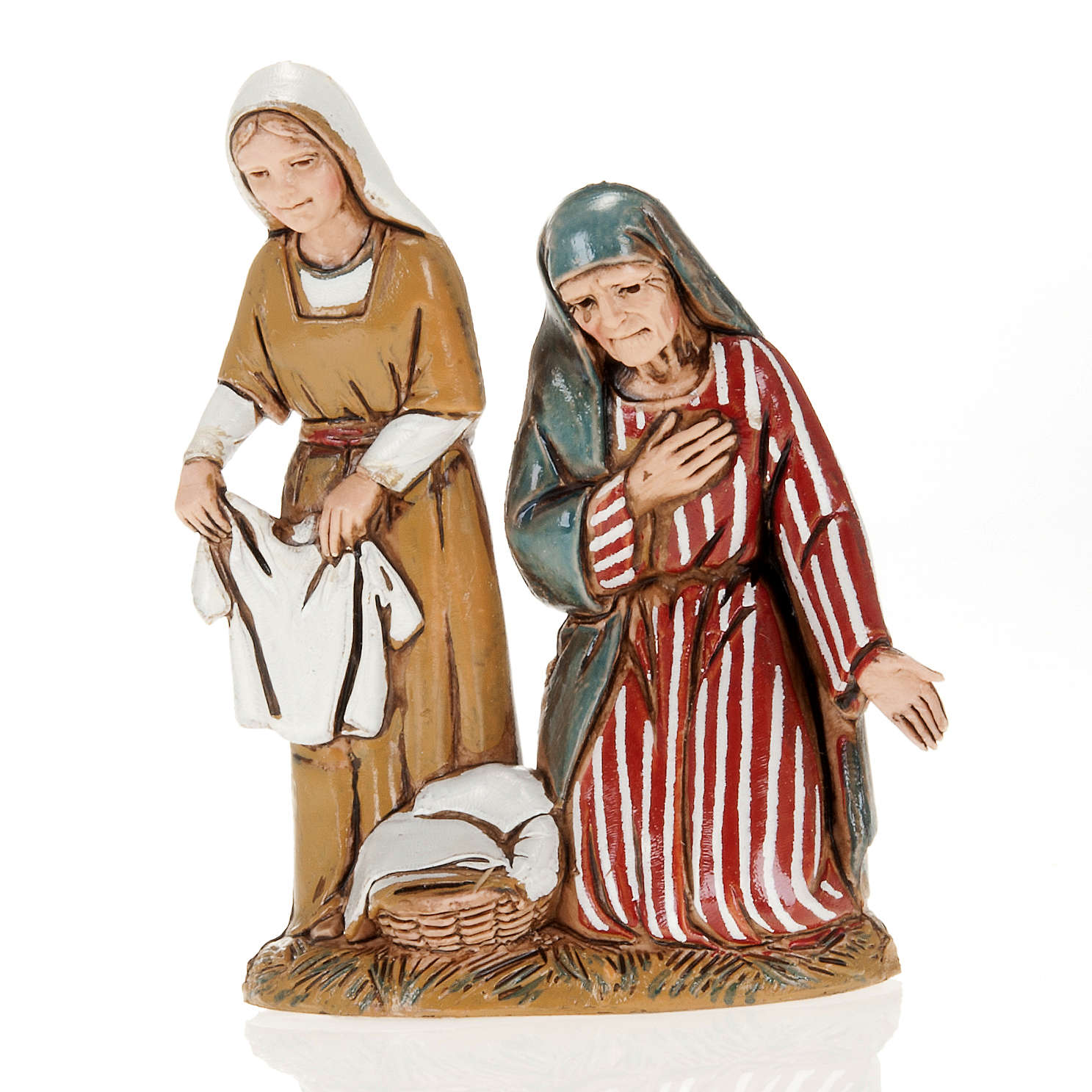 Old lady and child with cloths, nativity figurines, 10cm Moranduzzo 4