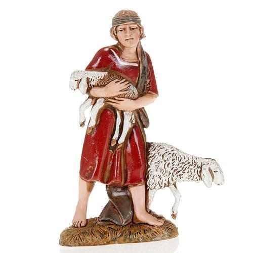 Young shepherd with sheep and lamb, nativity figurine, 10cm Moranduzzo 1