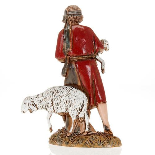 Young shepherd with sheep and lamb, nativity figurine, 10cm Moranduzzo 2