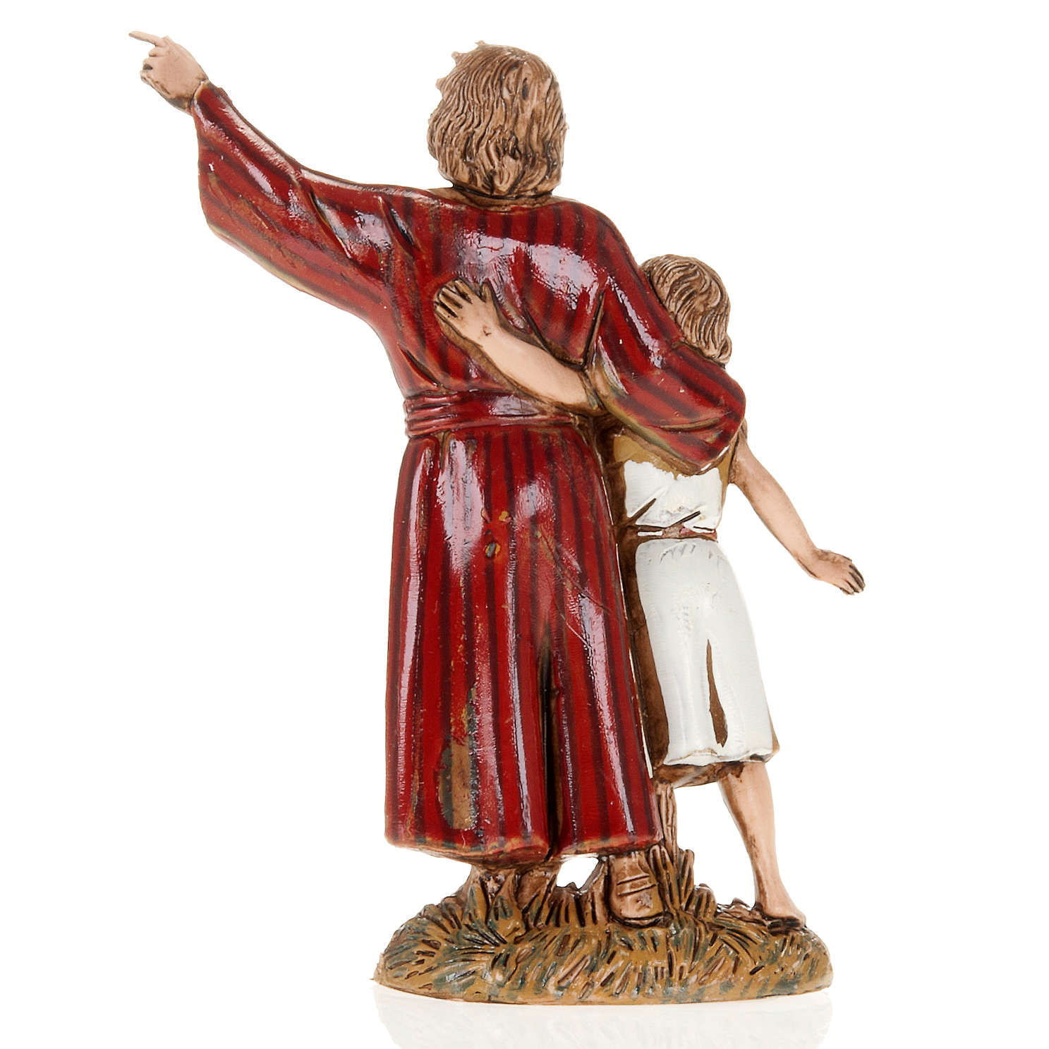 Figurines for Moranduzzo nativities, man and young boy 10cm 3
