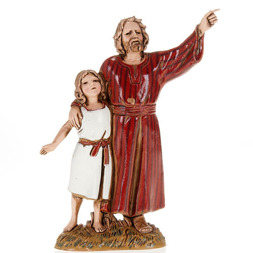 Figurines for Moranduzzo nativities, man and young boy 10cm 1