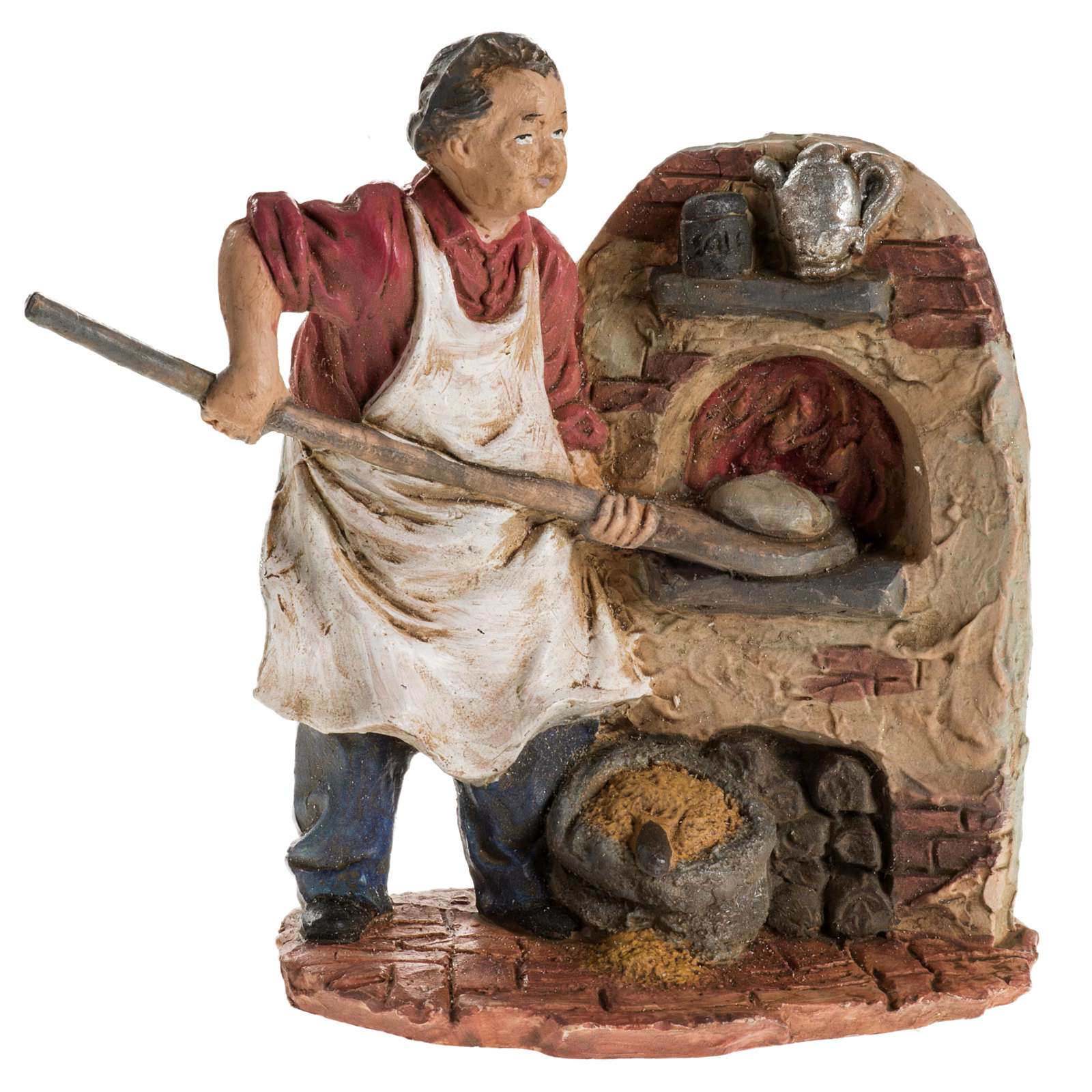Panettiere 13 cm resina statua presepe 3