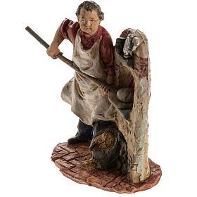 Panettiere 13 cm resina statua presepe s3