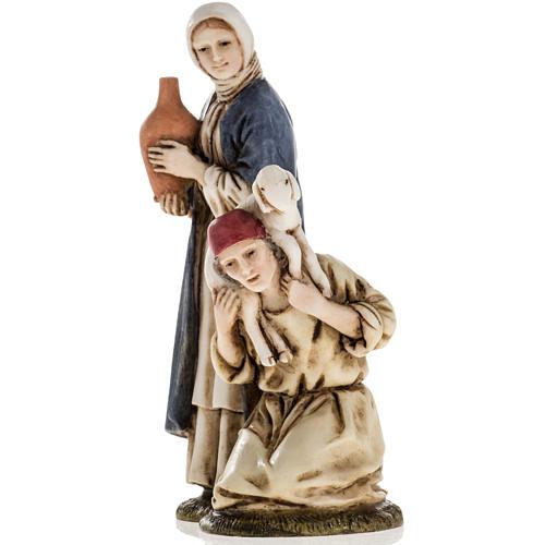 Woman with amphora and kneeling shepherd Moranduzzo 11cm 2