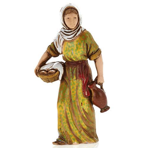 Femme avec panier, santon crèche Moranduzzo 8 cm 1