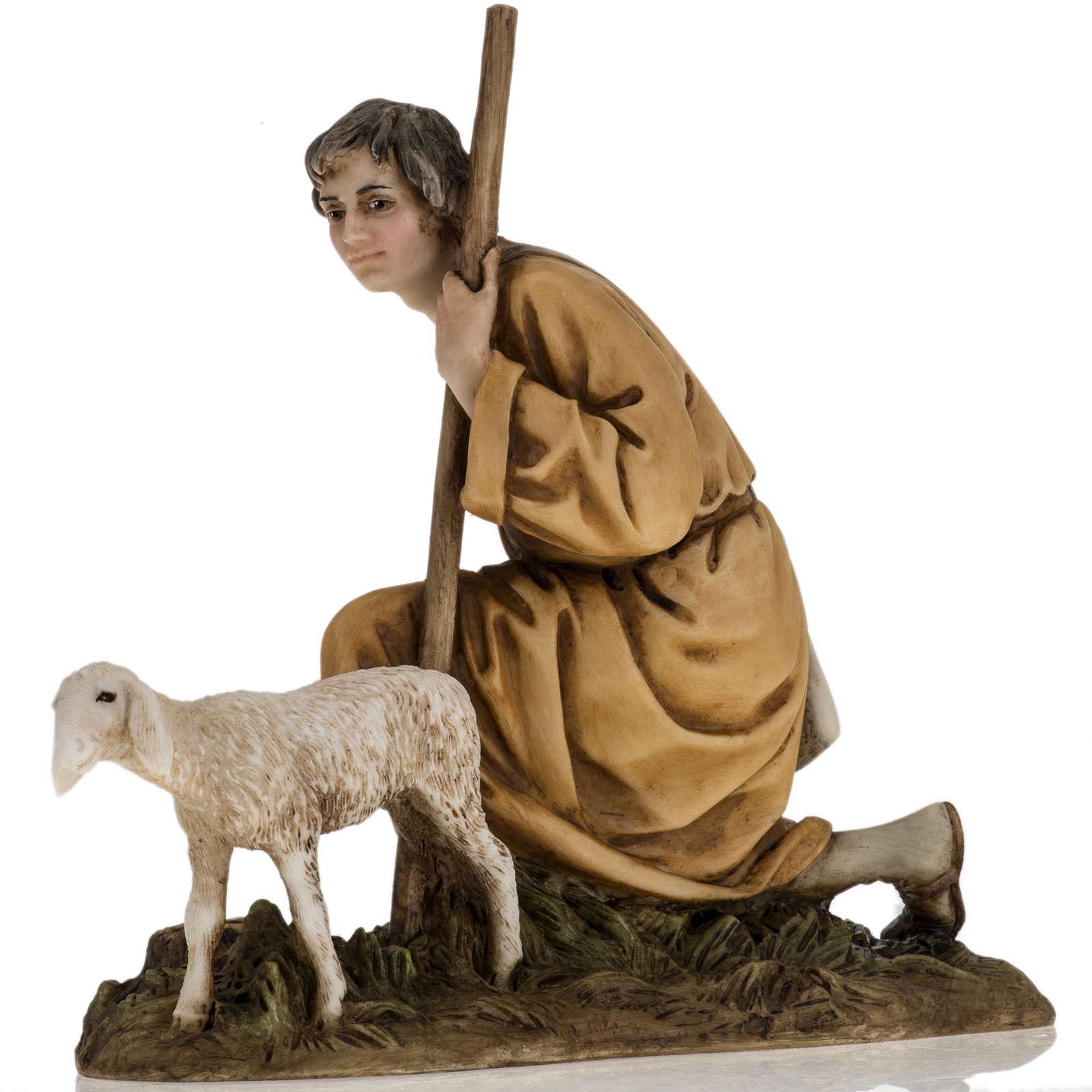 Pastorello con agnello 18 cm presepe Landi 3