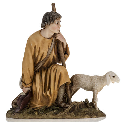 Figurines for Landi nativities, shepherd with lamb 18cm 1