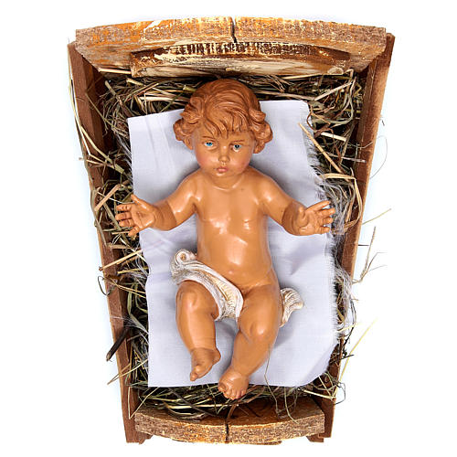 Niño Jesús y Cuna para Belén Fontanini con figuras de altura media 45 cm 1
