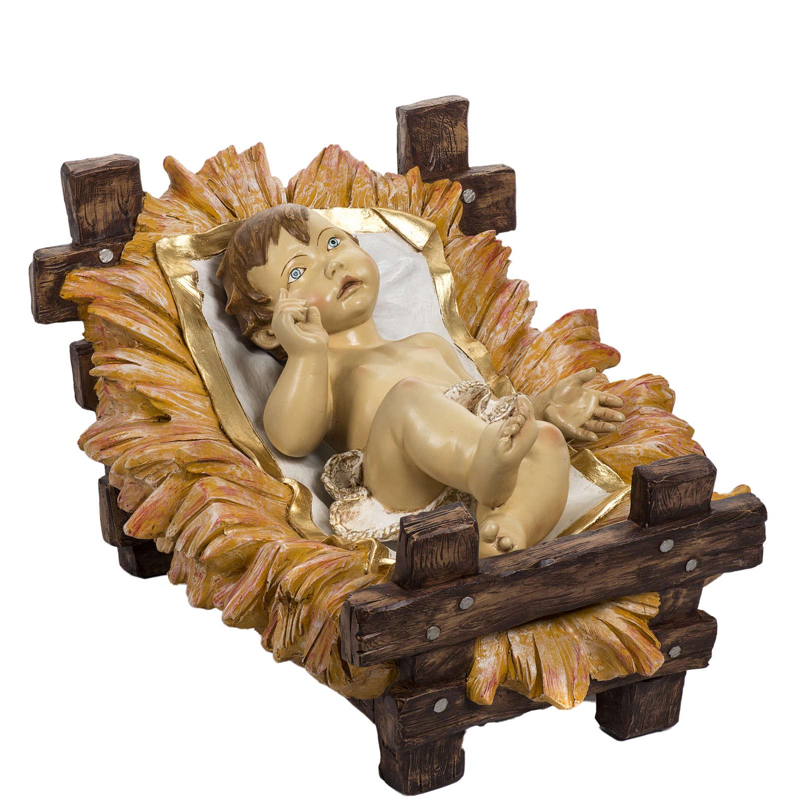 Enfant Jésus et crèche 180 cm résine Fontan 3
