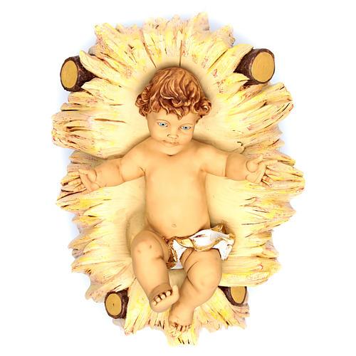 Jesuskind 125 cm mit Wiege Fontanini Harz 1