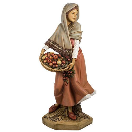 Femme avec fruits crèche Fontanini 125 cm résine 2