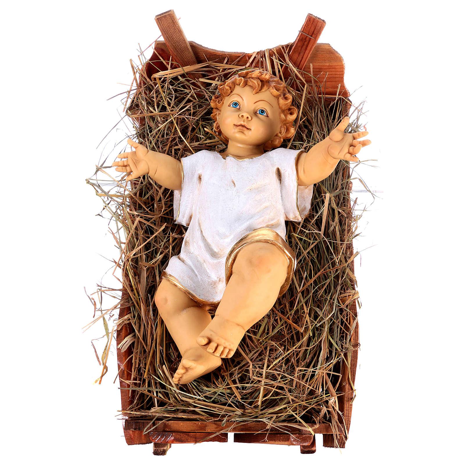 Bambinello vestito e culla in legno per presepe 125 cm Fontanini 3