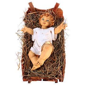 Bambinello vestito e culla in legno per presepe 125 cm Fontanini s1