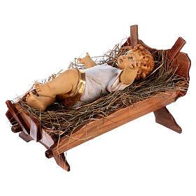 Bambinello vestito e culla in legno per presepe 125 cm Fontanini s5
