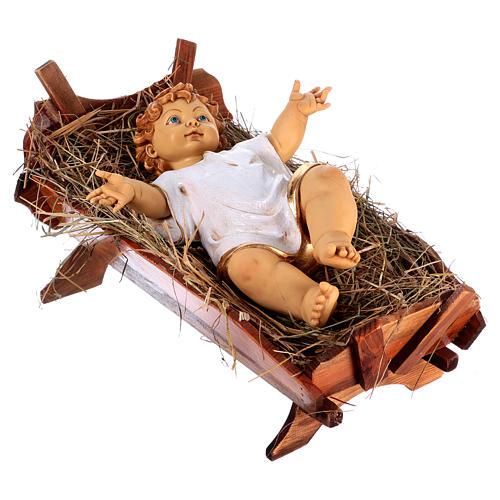 Bambinello vestito e culla in legno per presepe 125 cm Fontanini 4