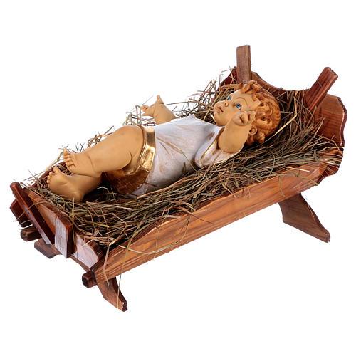 Bambinello vestito e culla in legno per presepe 125 cm Fontanini 5