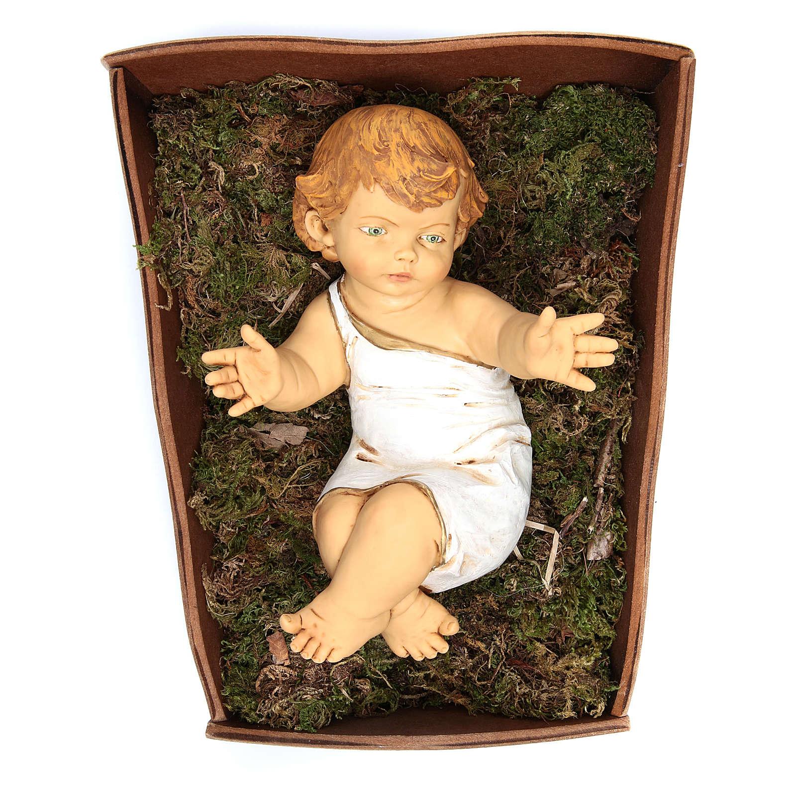 Bambinello Fontanini 85 cm resina con culla legno 3