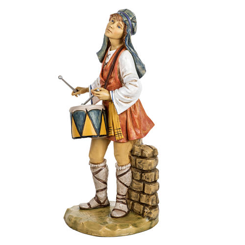 Berger avec  tambour crèche Fontanini 65 cm résine 2