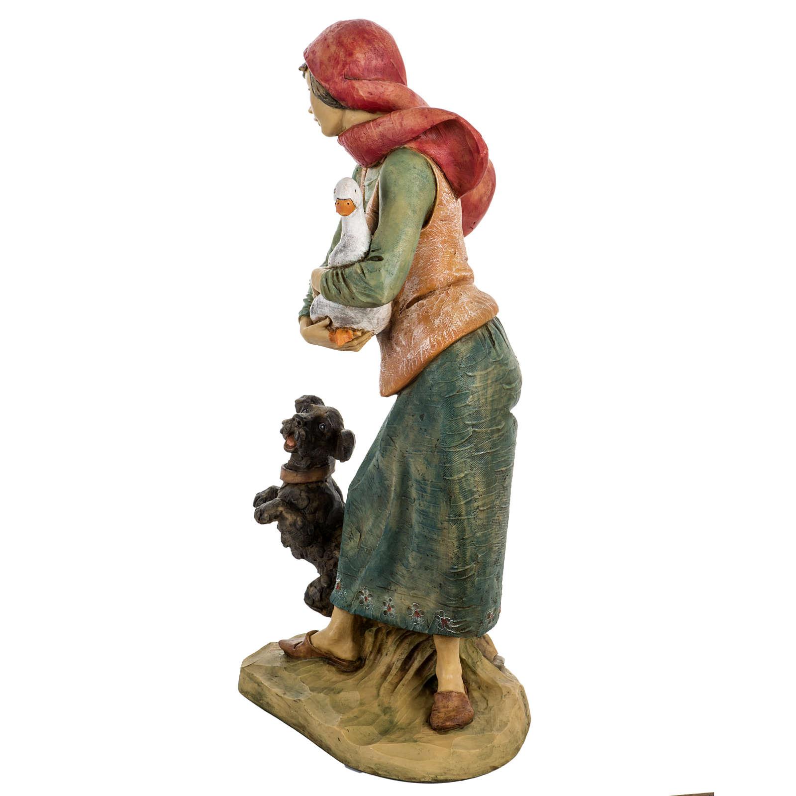 Donna con cane 52 cm presepe Fontanini 3