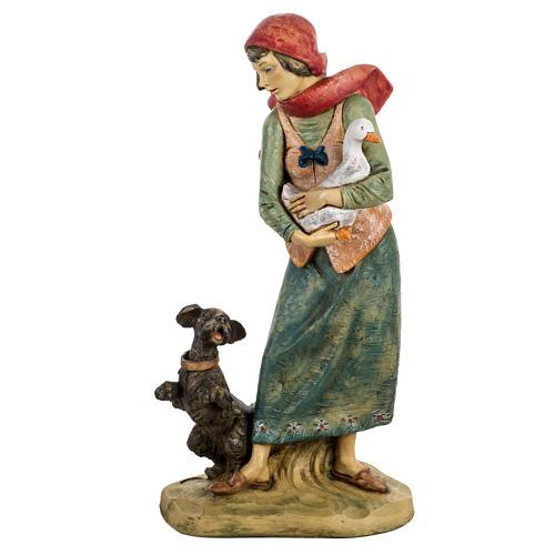 Donna con cane 52 cm presepe Fontanini 1