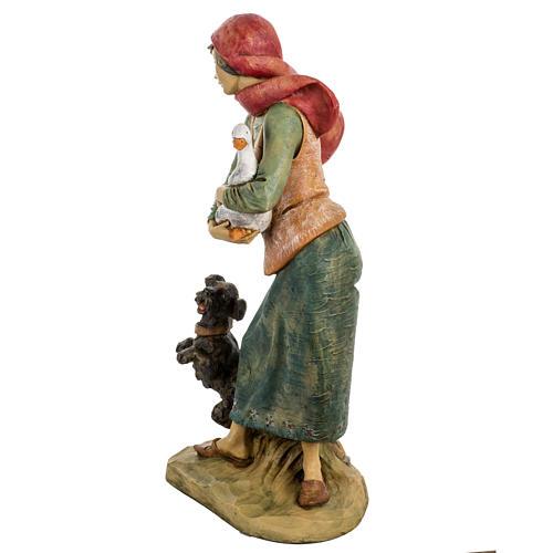 Donna con cane 52 cm presepe Fontanini 4