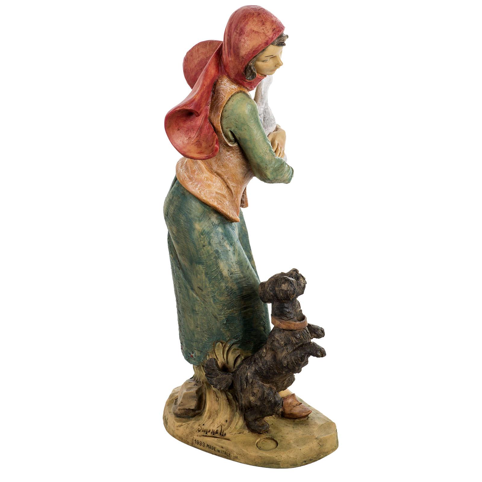 Kobieta z psem 52 cm szopka Fontanini 4