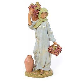 Krippenfiguren: 30 cm Hirtenmädchen, mit Traubenkorb, Fontanini