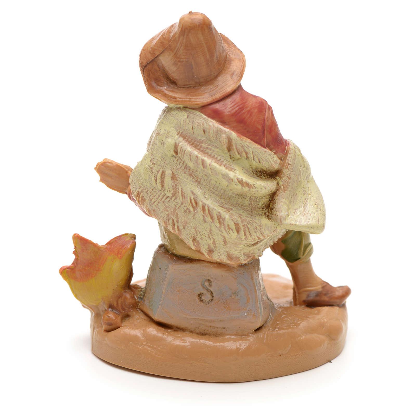 Pastor con fuego estilo madera 6,5cm Fontanini 3