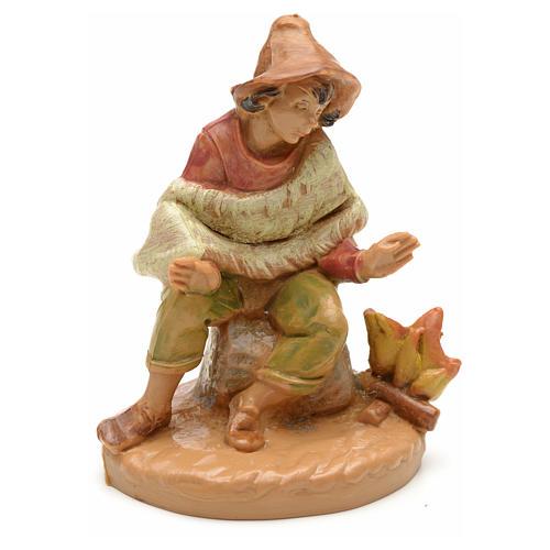Pastor con fuego estilo madera 6,5cm Fontanini 1