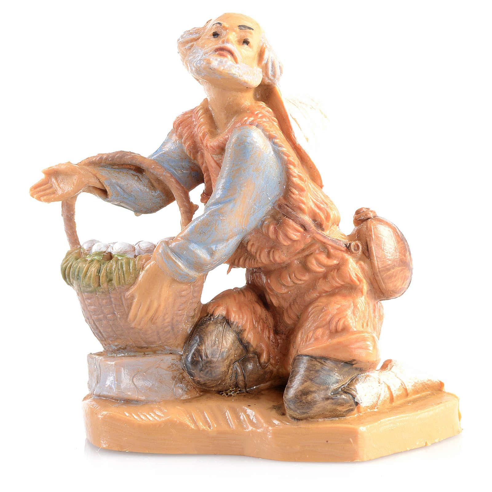 Pastor en rodillas con cesta Fontanini 6,5cm 4