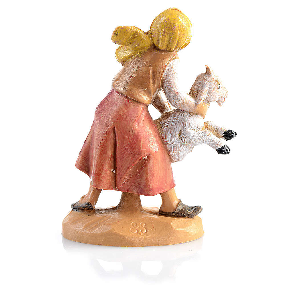 Bergère avec mouton crèche 6,5 cm Fontanini 3