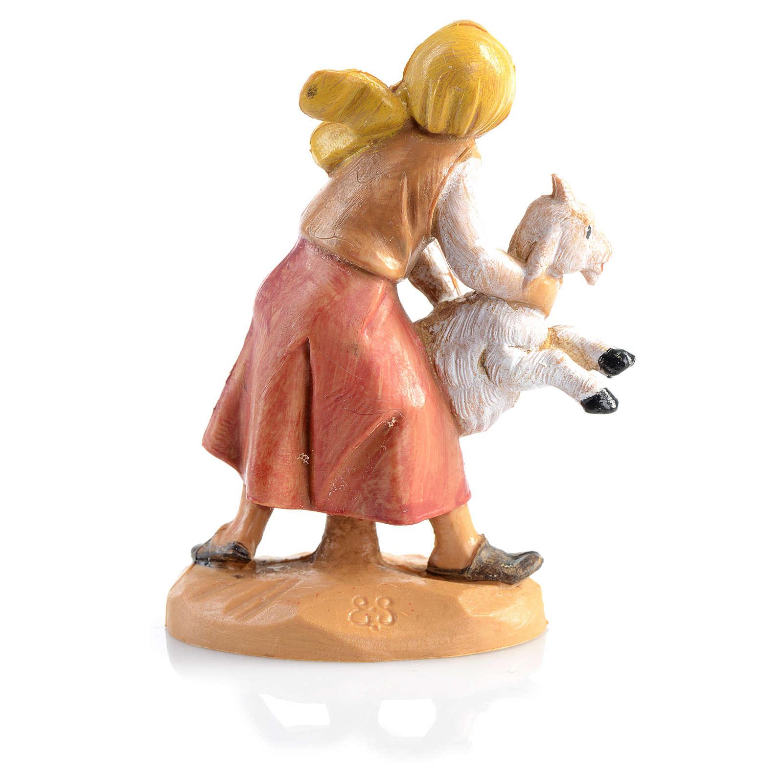 Pastorinha com ovelha Fontanini 6,5 cm 3