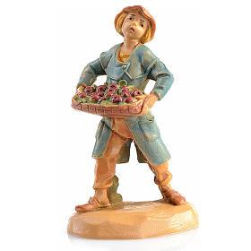 Figuras del Belén: Granjero con casete manzana Fontanini 6,5 cm.