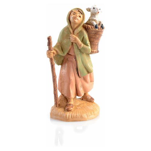 Pastora con oveja en la cesta Fontanini 6,5cm 3