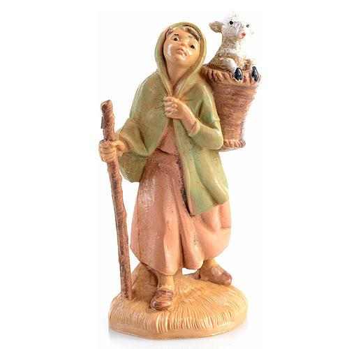 Pastora con oveja en la cesta Fontanini 6,5cm 1