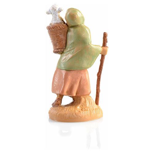 Pastora con oveja en la cesta Fontanini 6,5cm 2