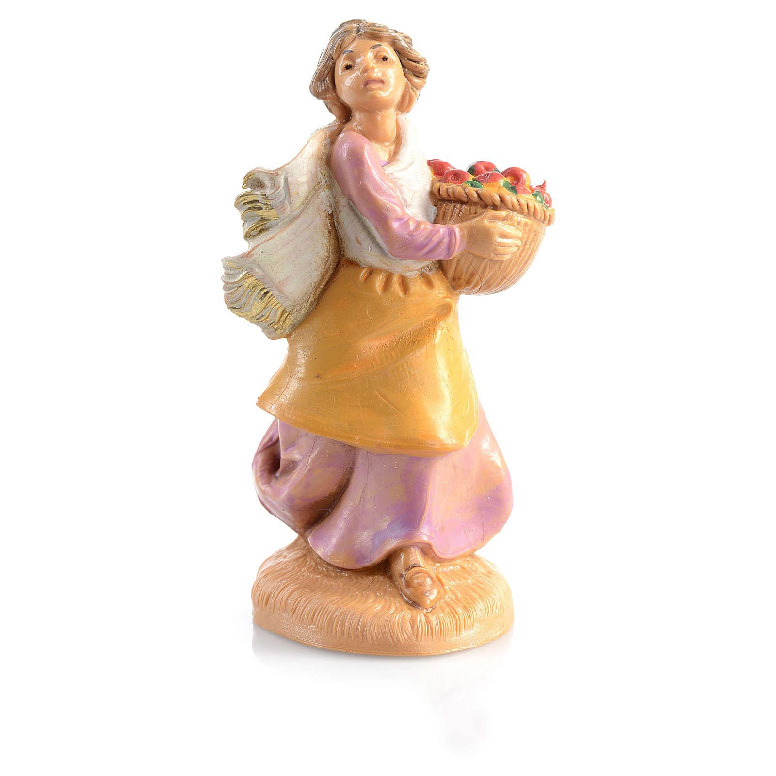 Pastora con cesta de frutas Fontanini 6,5 cm 3
