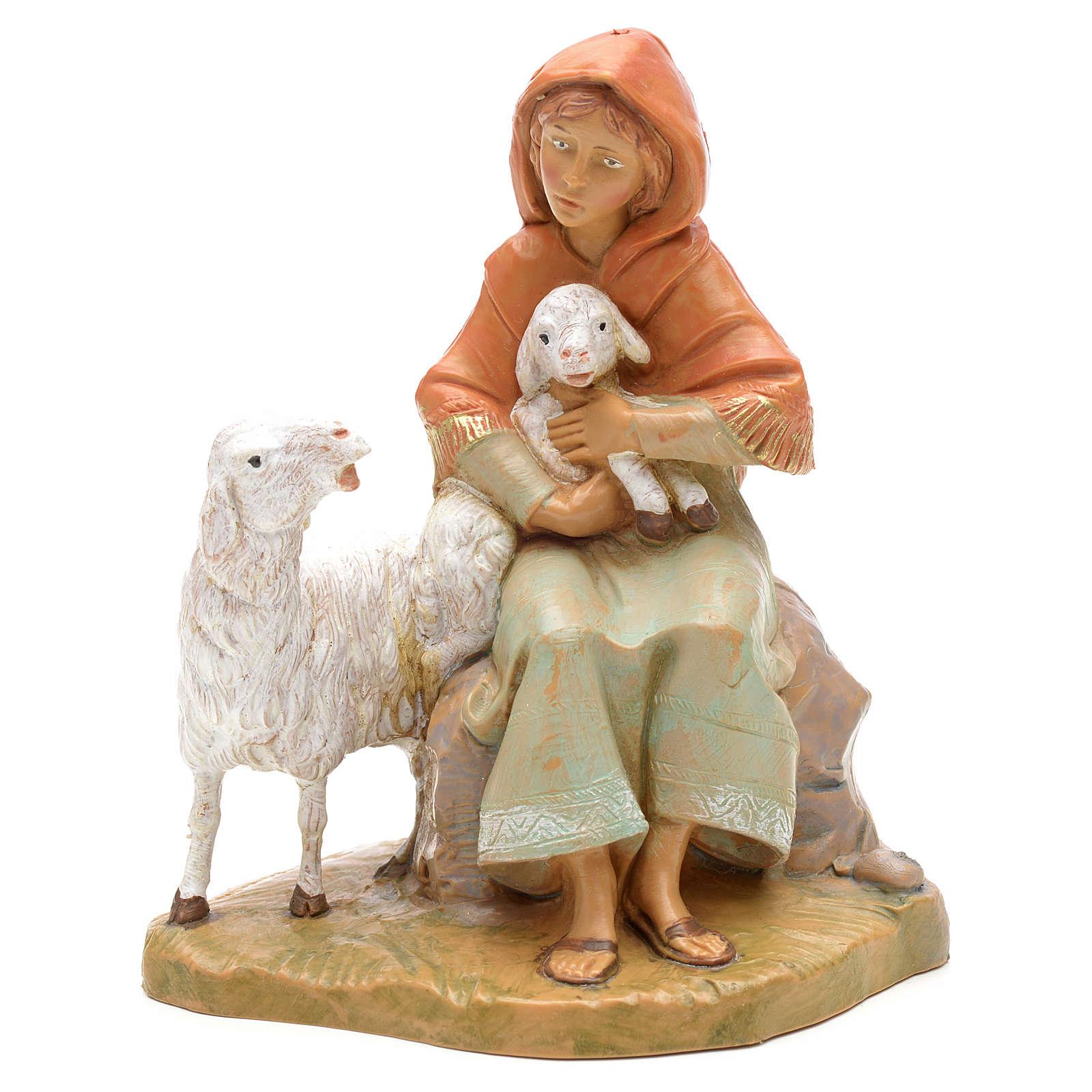 Pastorinha sentada com cordeiro e ovelha 12 cm Fontanini 4
