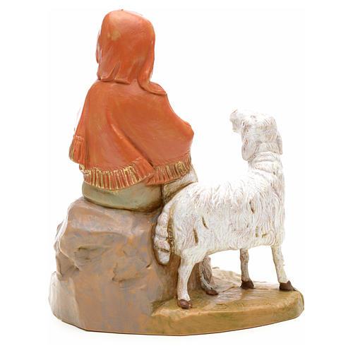 Pastorinha sentada com cordeiro e ovelha 12 cm Fontanini 2